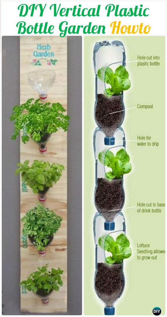 DIY Vertival Wall Plastic Bottle Garden Instructions - DIY Plastic Bottle Garden Projects & Ideas