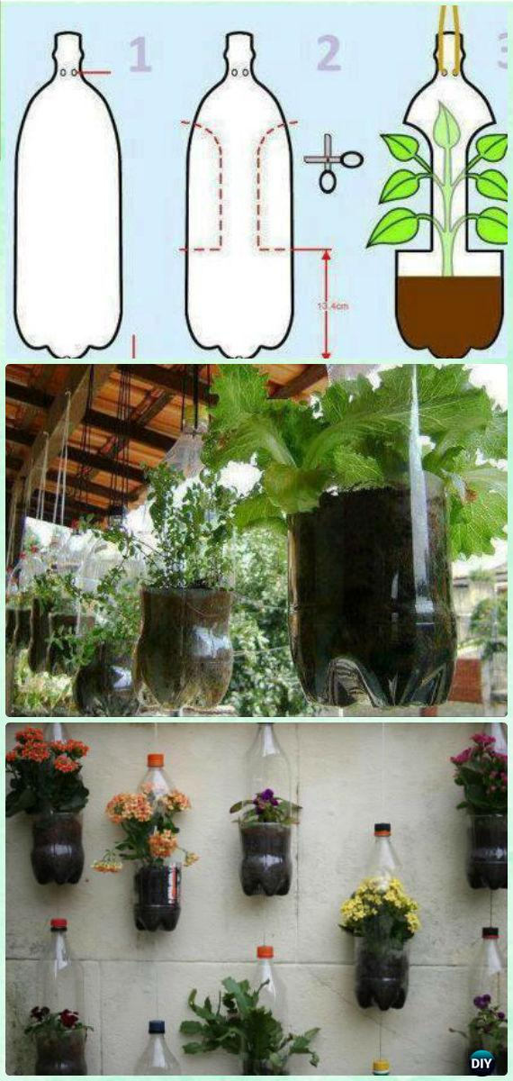 DIY Hanging Plastic Bottle Planter Garden Instructions - DIY Plastic Bottle Garden Projects & Ideas