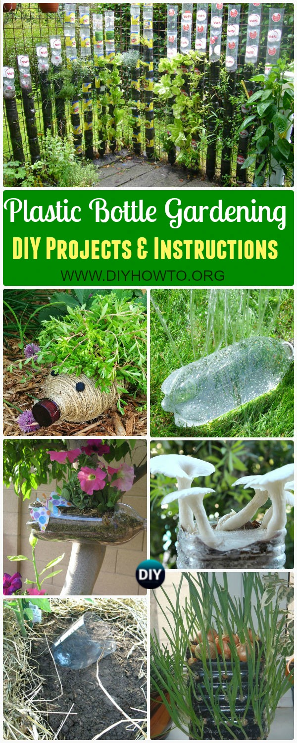 Collection of DIY Plastic Bottle Garden Projects & Ideas: herbs, vegetables and flower gardening, water irrigation and more