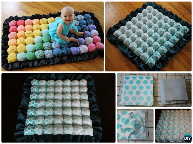 DIY Puff Bubble Blanket Biscuit Quilt Sew Pattern Instruction [Video] Adorable Blanket Patterns Sewing
