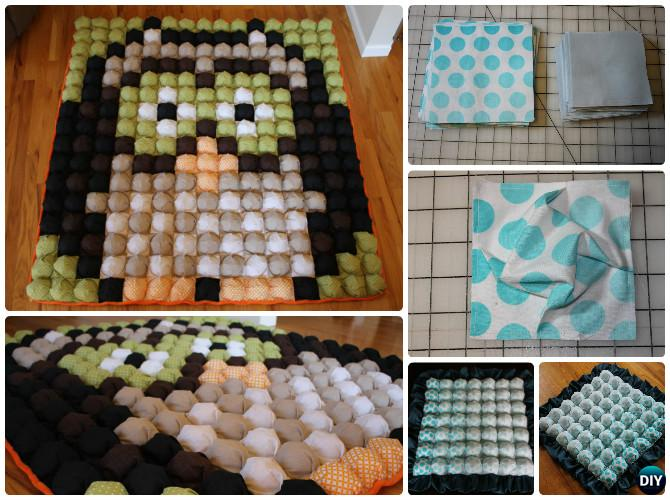 DIY Pixel Owl Bubble Quilt Sew Pattern Puff Blanket Biscuit Quilt Sew Pattern Instruction - video