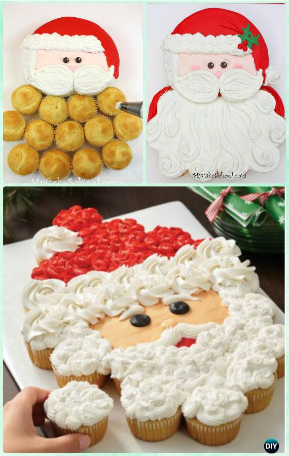 Santa Claus Pull Apart Cupcake Cake Instruction Tutorial -DIY Pull Apart Christmas Cupcake Cake Design Ideas