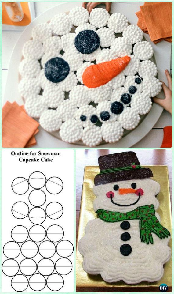 DIY Snowman Pull Apart Cupcake Cake Instruction Tutorial -DIY Pull Apart Christmas Cupcake Cake Design Ideas