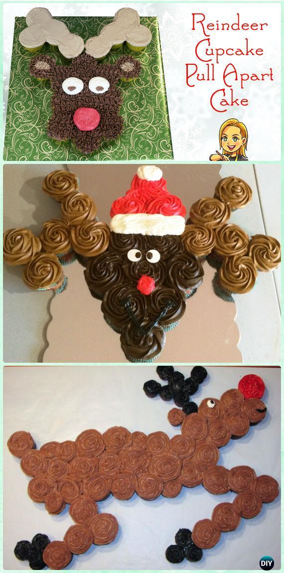 DIY Reindeer Pull Apart Cupcake Cake Instruction Tutorial -DIY Pull Apart Christmas Cupcake Cake Design Ideas