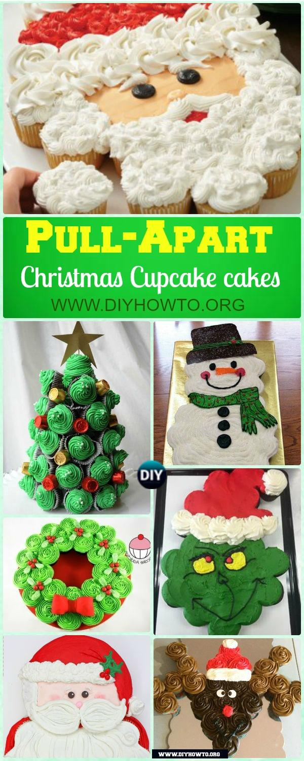 Christmas Pull Apart Cupcake Cake Decoration Ideas, All About Pull Apart Santa, Reindeer, Christmas Tree, Wreath Cupcake Cakes...