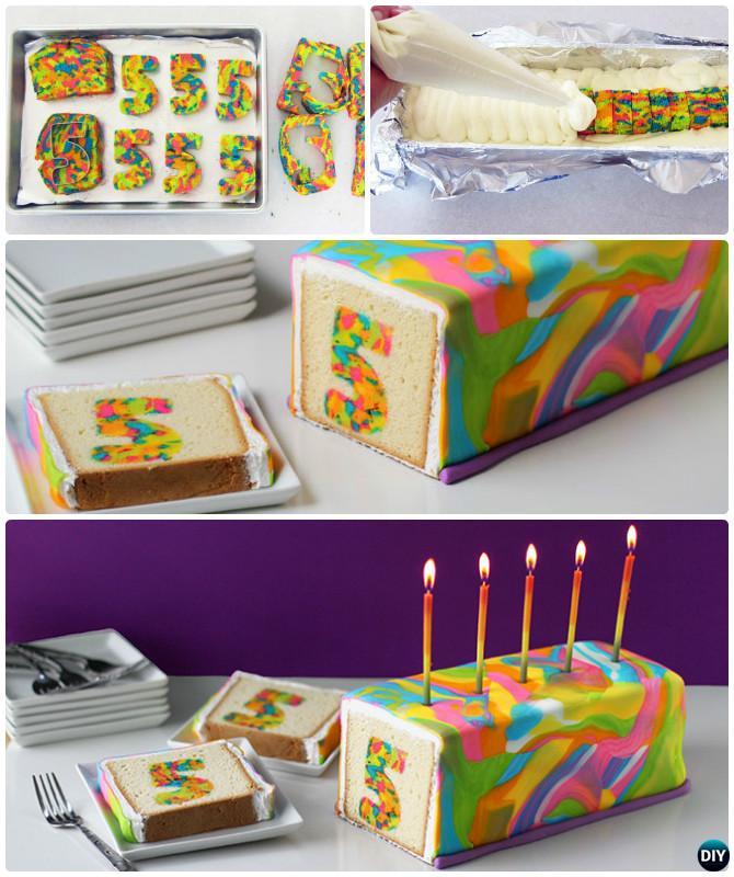 DIY Rainbow Tie Dye Surprise Cake Instructions- DIY Rainbow Cake Recipes
