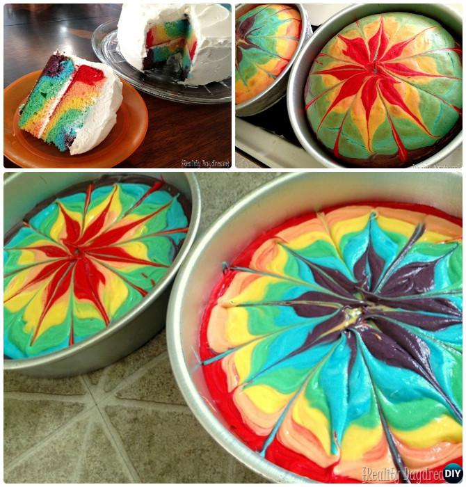 DIY Marble Tie Tye Rainbow Cake Instructions- DIY Rainbow Cake Recipes