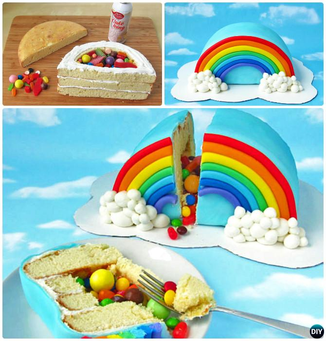 DIY Rainbow Pinata Cake Instructions- DIY Rainbow Cake Recipes
