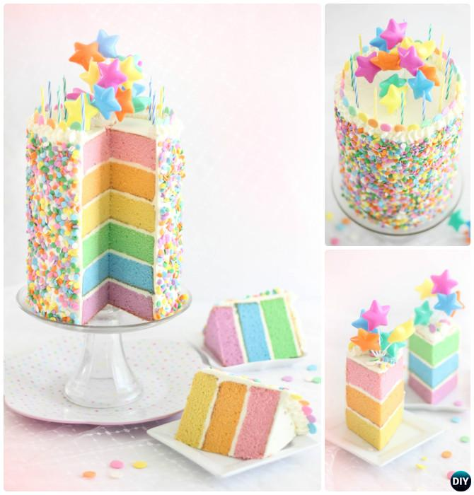 DIY Pastel Layer Rainbow Cake Instructions- DIY Rainbow Cake Recipes