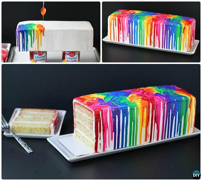 DIY Melted Rainbow Cake Instructions- DIY Rainbow Cake Recipes