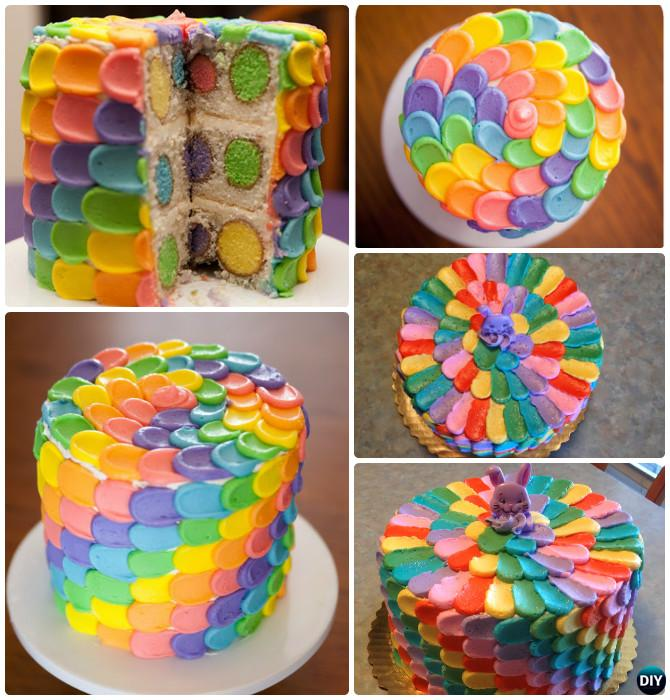 Rainbow Polka Dot Petal Surprise Cake Instructions- DIY Rainbow Cake Recipes