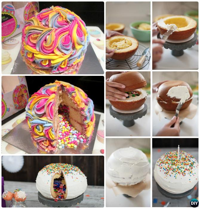 Rainbow Pinata Cake Instructions- DIY Rainbow Cake Recipes