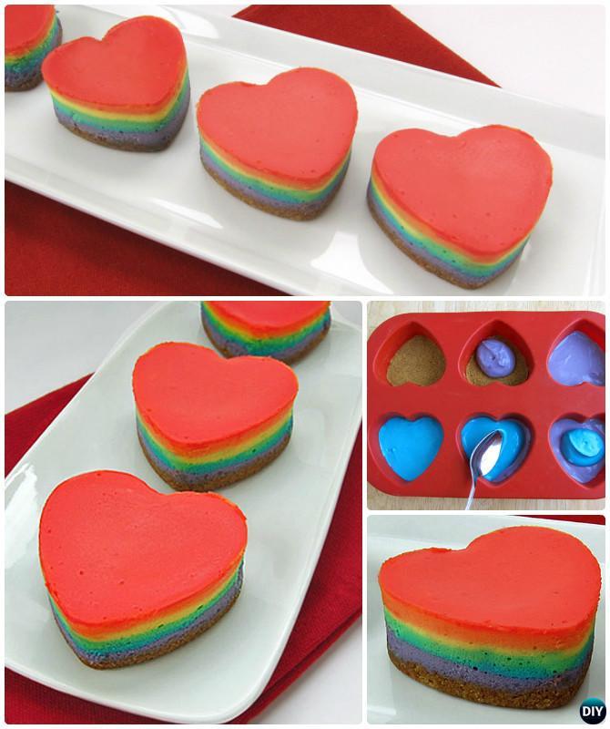 Rainbow Heart Cheese Cake Instruction- DIY Rainbow Cake Recipes