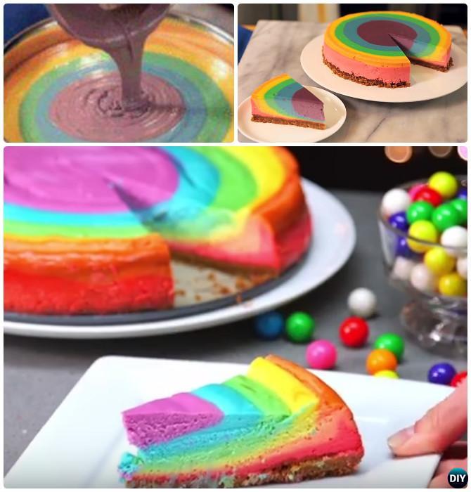 Rainbow Cheese Cake Instruction- DIY Rainbow Cake Recipes