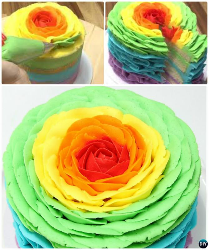 Giant Rainbow Rose Cake Instruction- DIY Rainbow Cake Recipes
