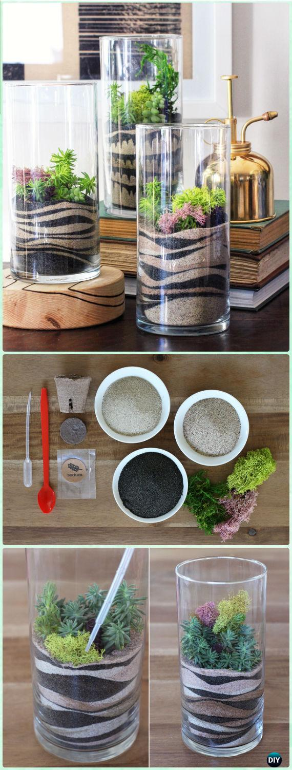 DIY Luxious Moss Glass Vase Sand Art Terrariums Instruction - DIY Sand Art Terririum Ideas Projects & Tutorials