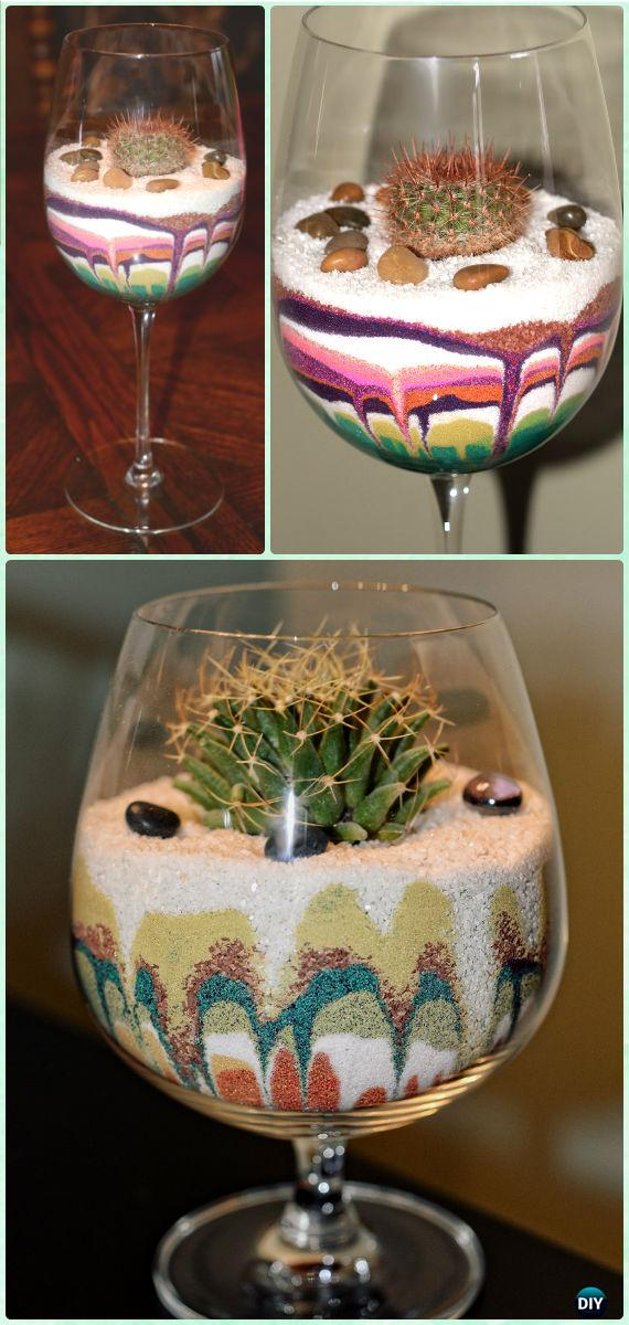DIY Cactus & Succulents Terrarium in a Glass Instruction - DIY Sand Art Terririum Ideas Projects & Tutorials