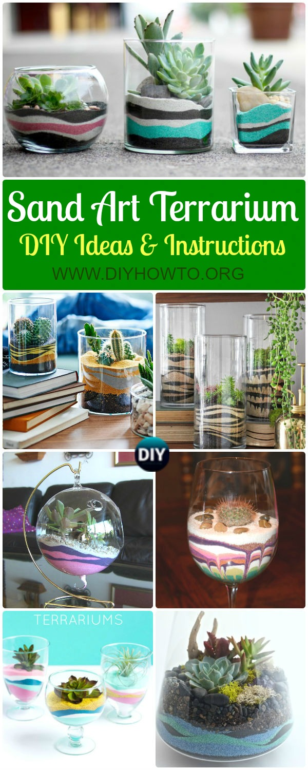 Collection of DIY Sand Art Terririum Ideas & Projects: Layered Sand Terrarium, Beach Themed, Dessert Themed Terrarium, Sand Succulent or Zen Garden