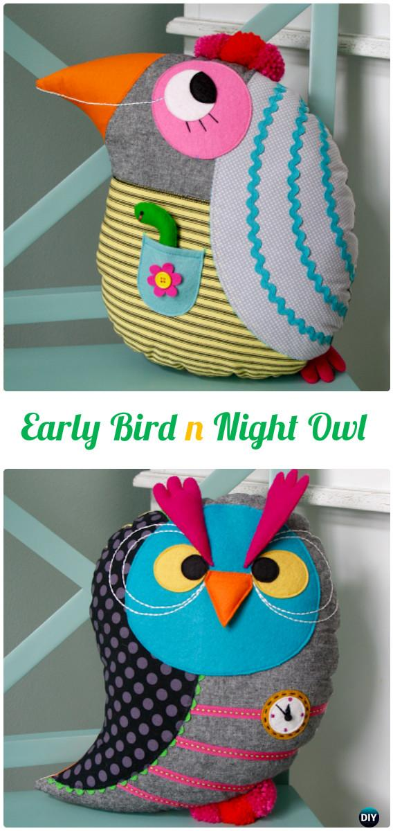 DIY Early Bird Night Owl Reversible Pillow Free Template Instructions-DIY Sew Owl Craft Projects