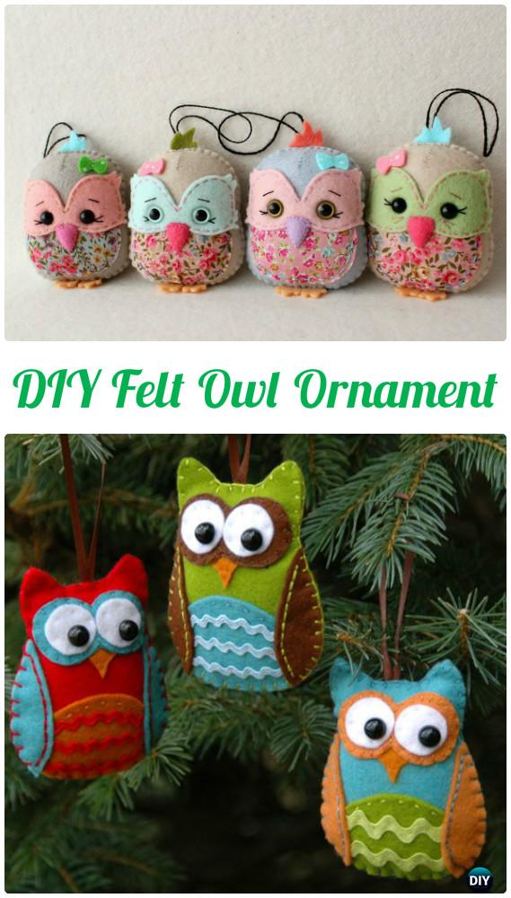 DIY Felt Owl Ornament Free Template Instructions-DIY Sew Owl Craft Projects