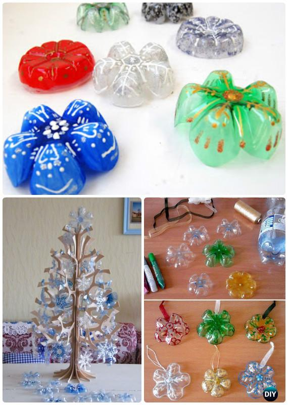 DIY Plastic Bottle Snowflake Ornament Instructions - DIY Snowflake Craft Ideas Projects