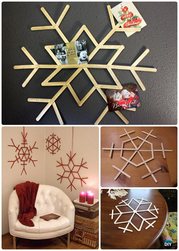 DIY Popsicle Stick Snowflake Instructions - DIY Snowflake Craft Ideas Projects