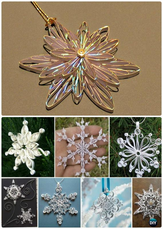DIY Quilled Paper Snowflake Ornament Instructions - DIY Snowflake Craft Ideas Projects