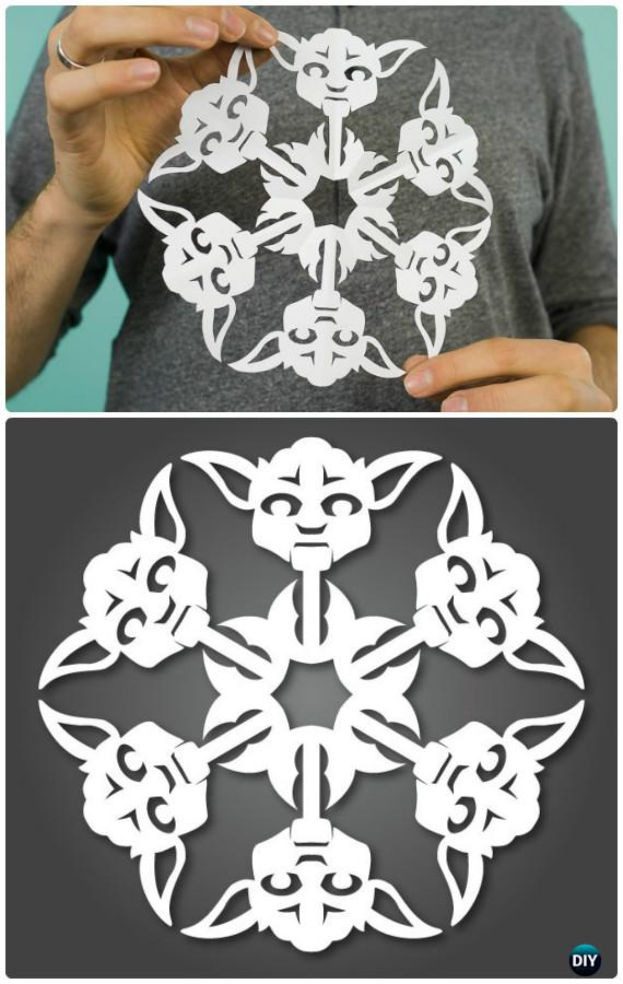 DIY Star Wars Paper Snowflakes Instructions - DIY Snowflake Craft Ideas Projects