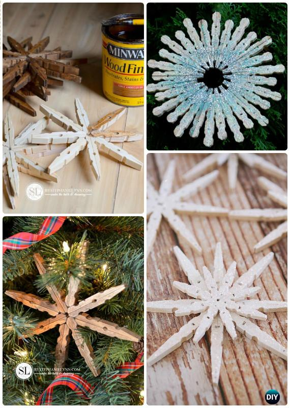 DIY Glittered Clothespin Snowflakes Instructions - DIY Snowflake Craft Ideas Projects