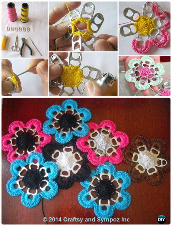 DIY Pull Tab Flower Snowflakes Instructions - DIY Snowflake Craft Ideas Projects