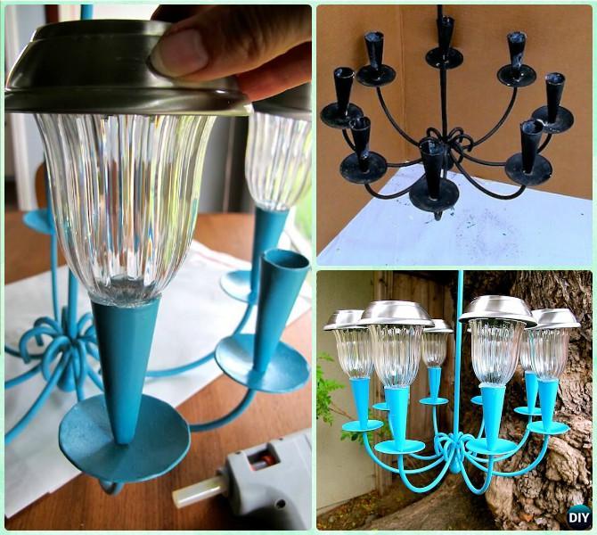 Diy recycled solar light hanging chandelier tutorial diy for Solar light chandelier diy