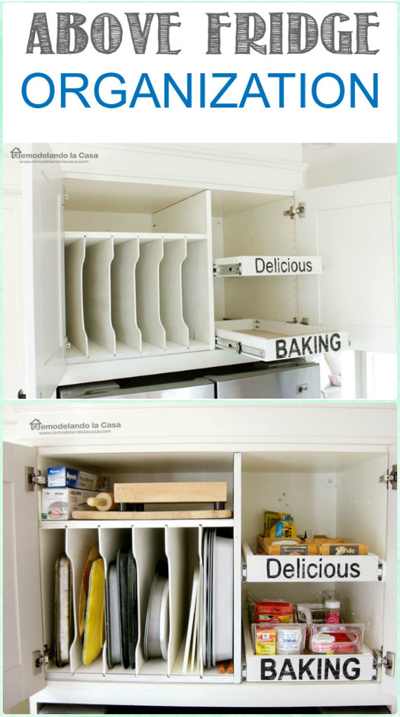 DIY Pull-out Drawers in Cabinet above Fridge Instruction - DIY Space Saving Hacks to Organize Your Kitchen
