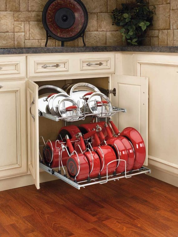 Slider Out Cookware Organizer - DIY Space Saving Hacks to Organize Your Kitchen