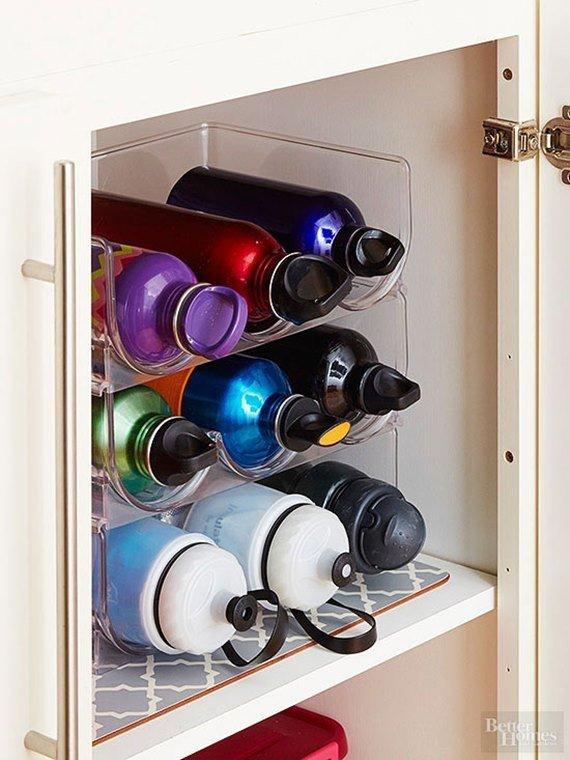 Wine Rack As Water Bottle Holder - DIY Space Saving Hacks to Organize Your Kitchen