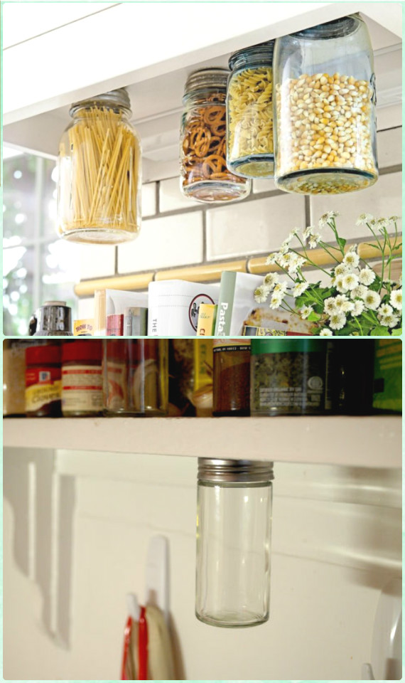 DIY Under-shelf Jar Rack Instruction - DIY Space Saving Hacks to Organize Your Kitchen