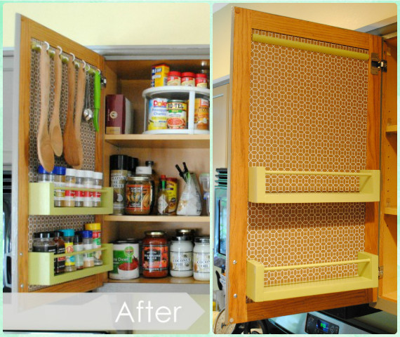 DIY Wood Spice Racks on Cabinet Door Instruction - DIY Space Saving Hacks to Organize Your Kitchen