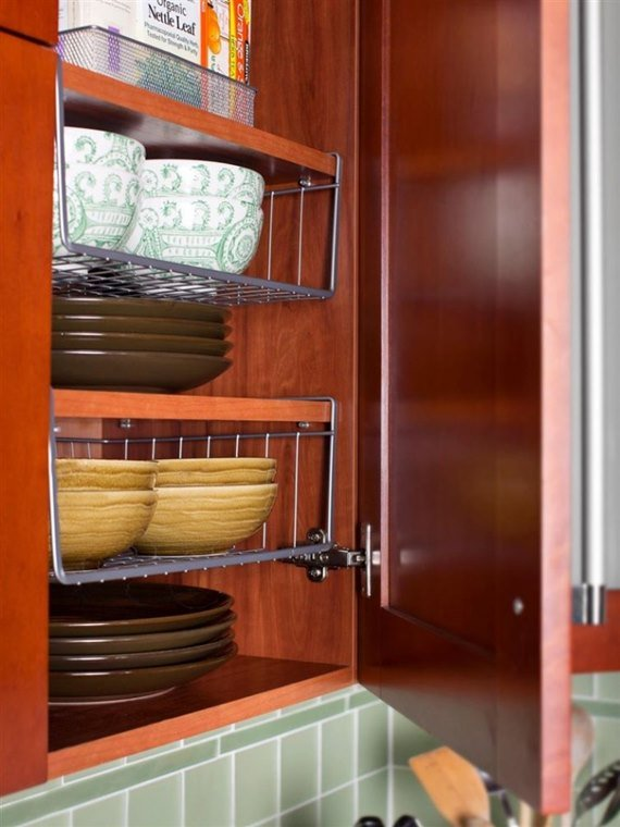 Using Under- shelf Racks - DIY Space Saving Hacks to Organize Your Kitchen