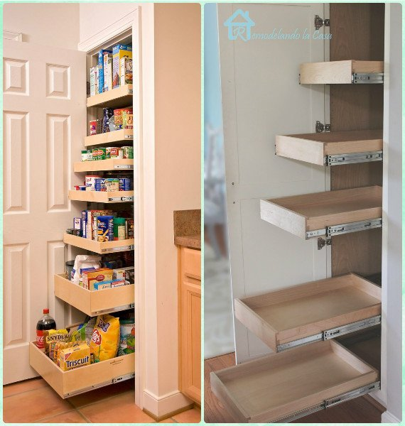DIY Slide Out Pantry Drawer Instruction - DIY Space Saving Hacks to Organize Your Kitchen