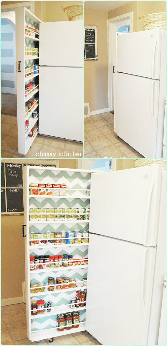 DIY Canned Food Slide Out Organizer Instruction - DIY Space Saving Hacks to Organize Your Kitchen