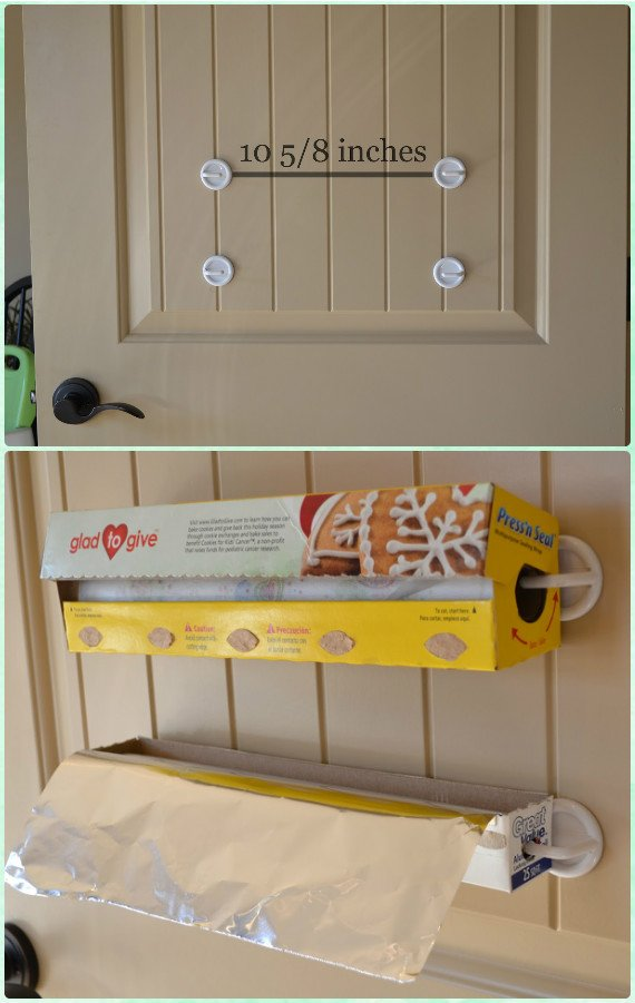 DIY Foil and Plastic Wrap Holder- DIY Space Saving Hacks to Organize Your Kitchen