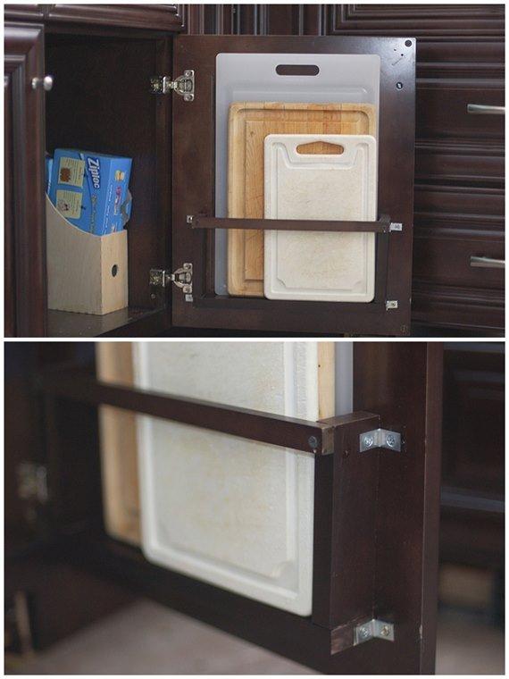 DIY L brackets Behind-the-door Cutting board holder - DIY Space Saving Hacks to Organize Your Kitchen