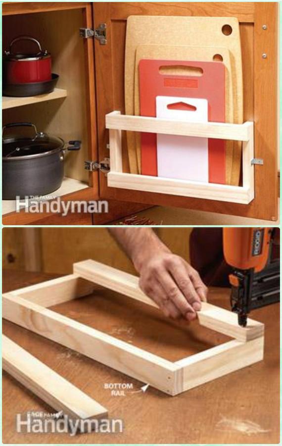 DIY Cutting board Rack Instruction - DIY Space Saving Hacks to Organize Your Kitchen