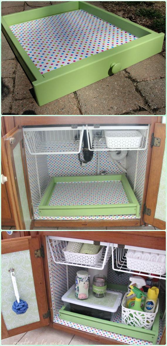 DIY Under Sink Cleaning Supply Organization Instruction - DIY Space Saving Hacks to Organize Your Kitchen
