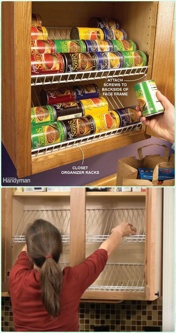 DIY Closet Rack Can Food Organizer Instruction - DIY Space Saving Hacks to Organize Your Kitchen