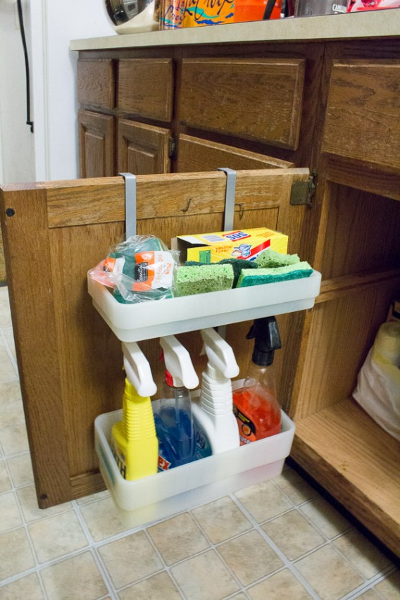 Cleaning Supply Organization under sink- DIY Space Saving Hacks to Organize Your Kitchen