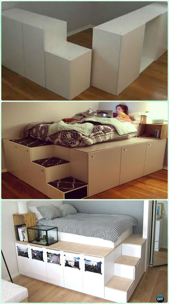 Diy space saving bed frame design free plans instructions - Space saving cabinet ideas ...