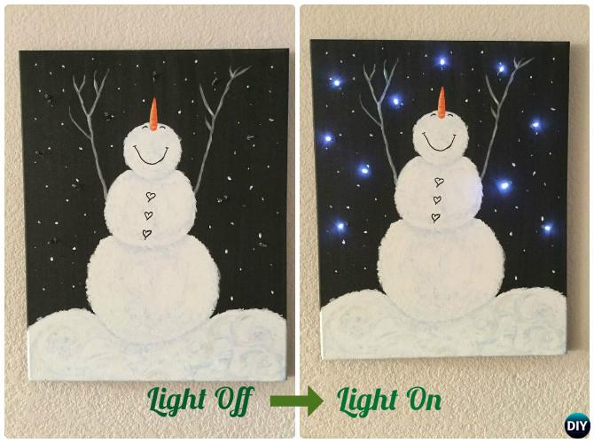 DIY String Light Backlit Canvas Art Ideas Crafts - Light Up Snowman Canvas