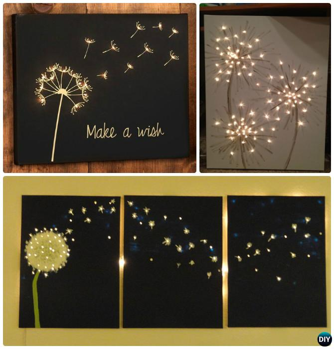 Diy string light backlit canvas art ideas crafts for How to make canvas painting