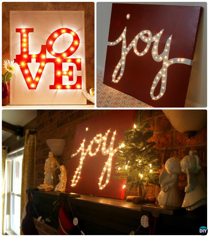 DIY String Light Backlit Canvas Art Ideas Crafts - Light Up Word Love Joy Canvas