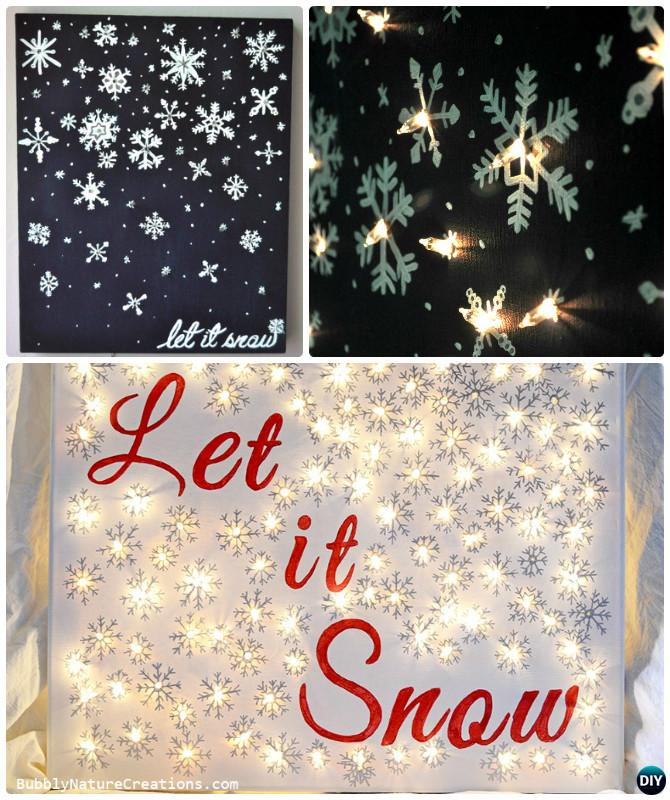DIY String Light Backlit Canvas Art Ideas Crafts - Light Up Let It Snow Canvas